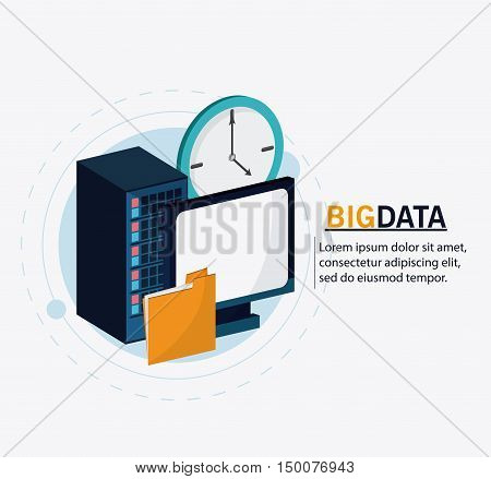 Computer file and clock icon. Big data center base and web hosting theme. Colorful design. Vector illustration