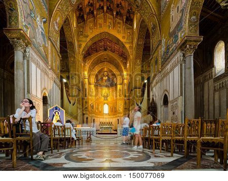 MONREALE ITALY - SEPTEMBER 8 2015: Interior of the Cathedral of Montreale or Duomo di Monreale near Palermo Sicily Italy.