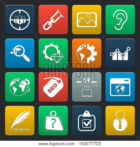 SEO 16 icons universal set for web and mobile flat