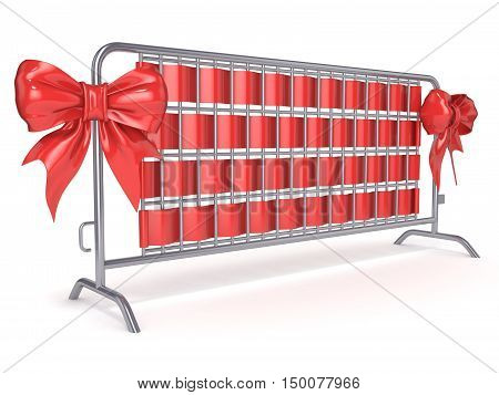 Steel barricades with red ribbon bows. Side view. 3D render illustration isolated on white background