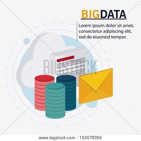 Cloud document and envelope icon. Big data center base and web hosting theme. Colorful design. Vector illustration