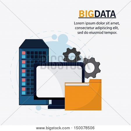computer gears and file icon. Big data center base and web hosting theme. Colorful design. Vector illustration