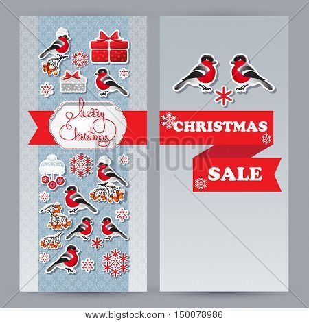 Vector  winter sale leaflets. Include bullfinch, hat, gift, snowflake, rowan branch and handwritten words Merry Christmas.  Template for your design.