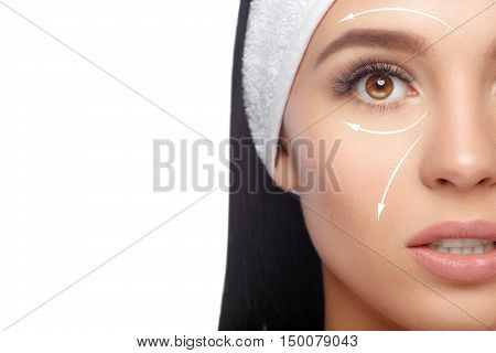 Closeup Woman in Hairband, her Face with a Perfectly Clean Skin. Happy Woman after Bath with Clean Perfect Skin. Skin Care, Cosmetics and Makeup Concept.