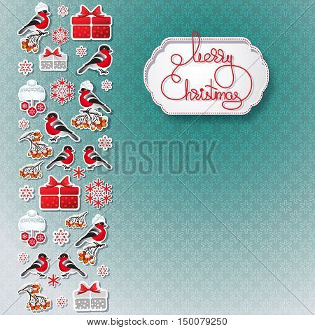 Vector illustration of bullfinch, rowan, gift, snowflake seamless background  and handwritten words Merry Christmas.  Winter greeting card. Template for your design.