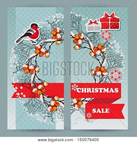 Vector  winter sale leaflets. Include bullfinch, gift, snowflake, rowan branch and words Christmas Sale.  Template for your design.