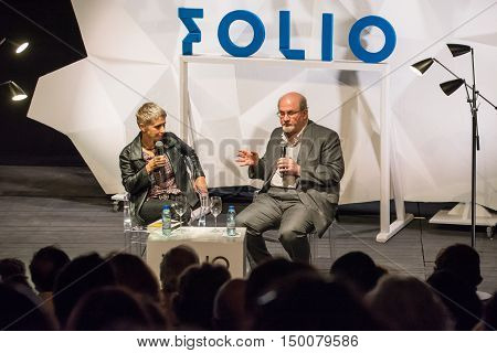 Obidos Portugal. 30 September 2016. British writer Salman Rushdie with the Portuguese journalist Clara Ferreira Alves attends a conference at the FOLIO International Literary Festival of Obidos. Obidos Portugal. photography by Ricardo Rocha.
