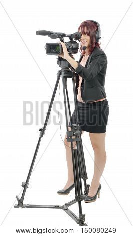 a beautiful young woman with a professional video camera and headphone on white