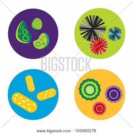 Bacteria virus vector icon. Biology microorganisms, microbes germs and bacilli.