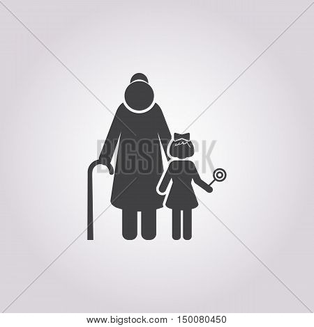 grandmother icon on white background for web