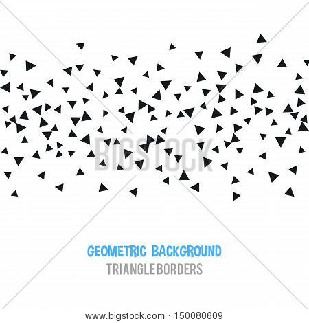 Triangle geometric background. Vector illustration for modern abstract design. Trendy decoration pattern template. Explosion burst bang confetti. Black white color. Brochure poster texture template