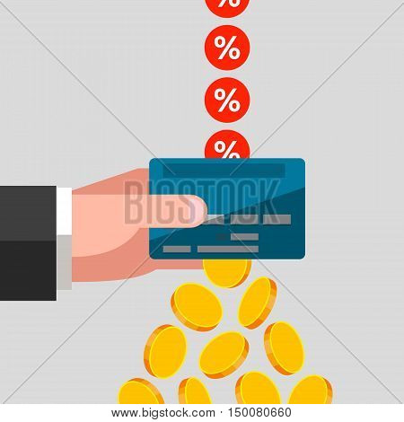 Man's hand is keeping a bank card. Percents are falling in bank card coins are flying out from card. Receiving a profit from interest rate cashing of finances