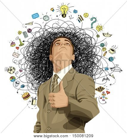 Vector idea concept with businessman looking upwards