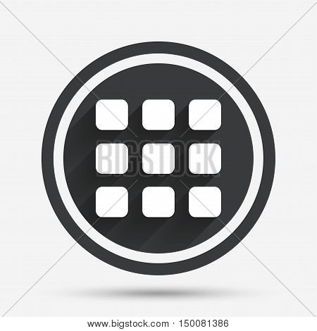 Thumbnails grid sign icon. Gallery view option symbol. Circle flat button with shadow and border. Vector