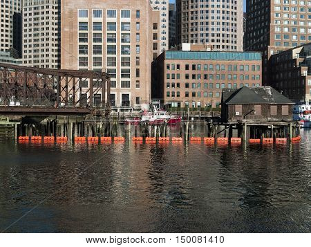 Boston Massachusetts USA - April 21 2016: Boston Fire Rescue boat docked at Rowes Wharf