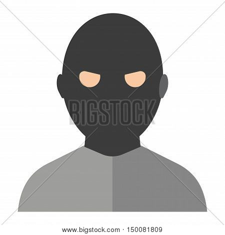 Silhouette of criminal man in hood vector icon