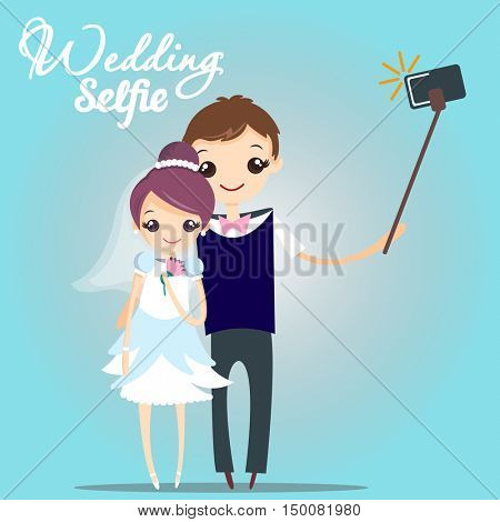 wedding selfie. Vector creative character design infographics on young couple standing full length trying to make a self portrait together with mobile device in hand and using selfie stick