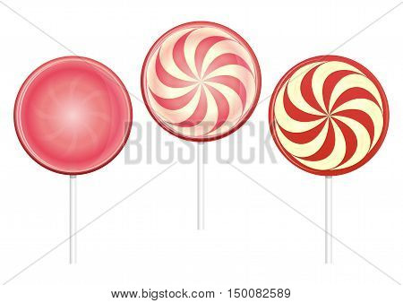 Lollipops set. Closeup lollipops, candy. Color vector illustration isolated on white background