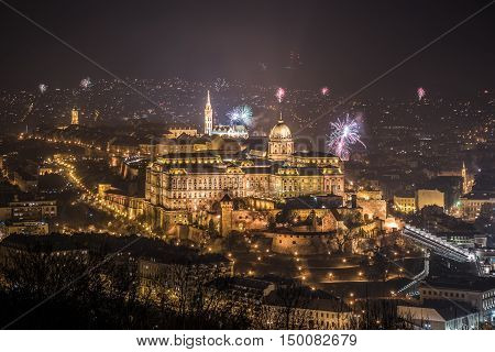 New Year Celebration. Buda Castle or Royal Palace in Budapest Hungary with Fireworks at Night