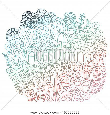 Autumn linear postcard. Multicolor gradient. Doodle fall card with word autumn, floral elements, rain cloud and drops, tree fall, acorn, umbrella, mushrooms, curly lines. Vector illustration.