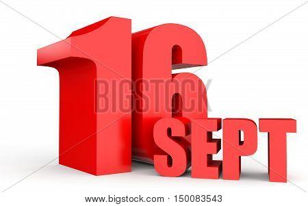 September 16. Text On White Background.