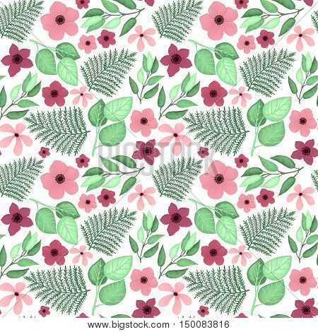 Bight Pink Flowers and Green Leaves Vector Seamless Pattern