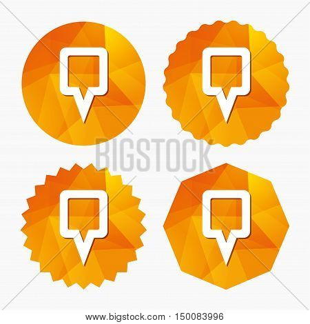 Map pointer sign icon. Location marker symbol. Triangular low poly buttons with flat icon. Vector