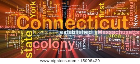 Background concept wordcloud illustration of Connecticut American state glowing light