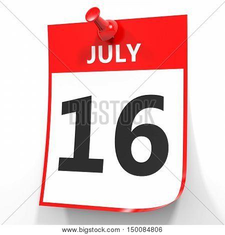 July 16. Calendar On White Background.