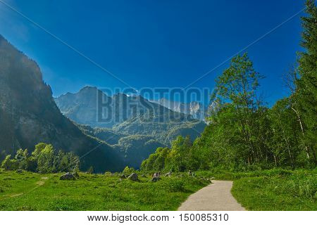 Foot path Near Saletalm Stop of Boat Cruise on Konigsee Lake in German Bavaria
