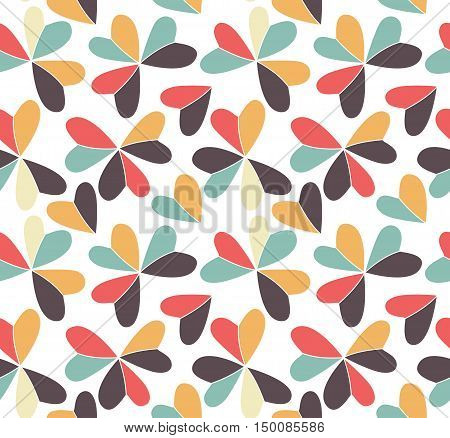 Vector seamless pattern with hearts placed in clover shapes. Flat shamrock imagined colors background. Simple repeating colorful texture. Various color minimalistic backdrop.
