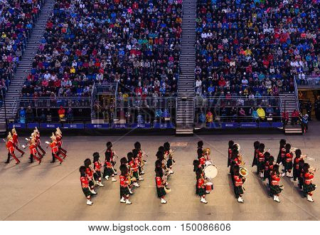 EDINBURGH, SCOTLAND--AUGUST 13, 2016--The British Military Band performing at the Military Tattoo in Edinburgh Castle, Edinburgh, Scotland.