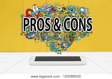 Pros And Cons Concept With Smartphone