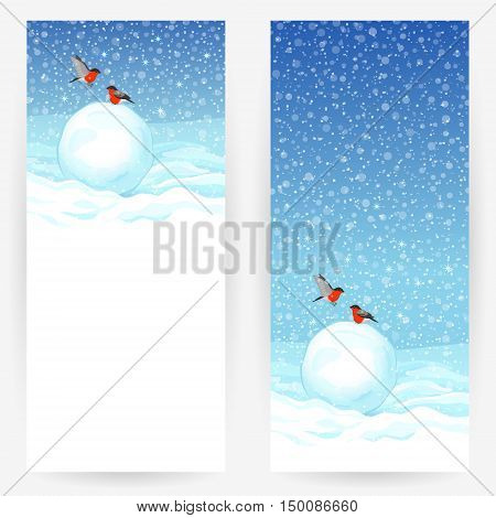 Festive greeting cards with bullfinches, snowballs at snowy background with place for congratulatory text. Vertical banners