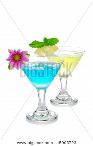 Two Summer Martini Cocktails Blue And Yellow