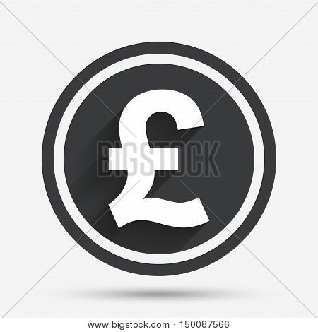 Pound sign icon. GBP currency symbol. Money label. Circle flat button with shadow and border. Vector