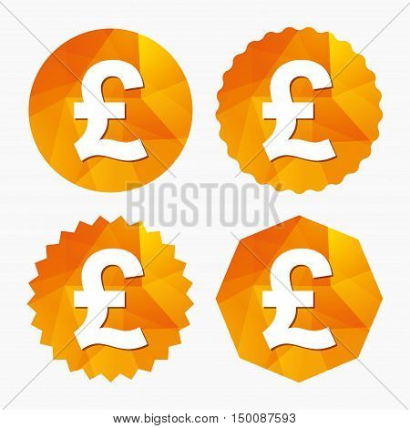 Pound sign icon. GBP currency symbol. Money label. Triangular low poly buttons with flat icon. Vector