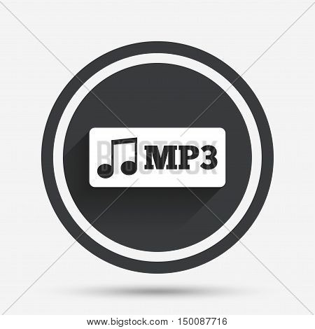 Mp3 music format sign icon. Musical symbol. Circle flat button with shadow and border. Vector