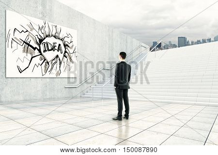 Businessman looking at whiteboard with creative abstract sketch. Idea and success concept. 3D Rendering