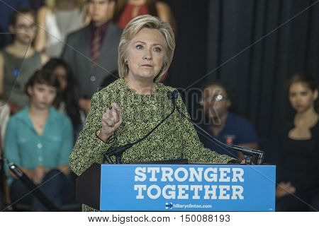 19 September 2016 - PhiladelphiaUSA - Secretary of State Hillary Clinton campaign rally at Temple Uniersity Philadelphia.