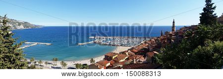 Panoramic View of the Old Town of Menton French Riviera France