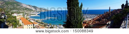 Beautiful Panoramic View of the City of Menton and the Mediterranean Sea