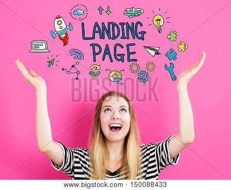 Landing Page Concept With Young Woman