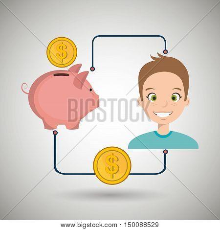 man cartoon piggy currency money vector illustration eps 10