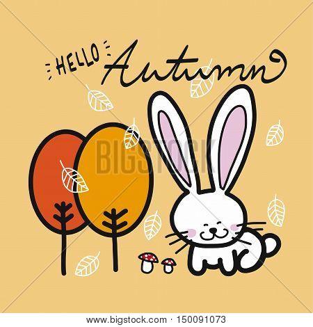 Hello autumn tree, falling leaf, mushroom and white rabbit cartoon illustration