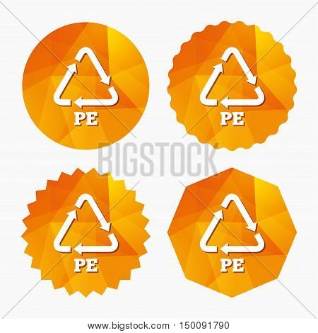 PE Polyethylene sign icon. Recycling symbol. Triangular low poly buttons with flat icon. Vector