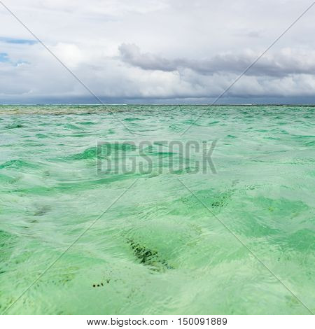 Nylon Pool in Tobago tourist attraction shallow depth of clear sea water covering coral and white sand panoramic view square