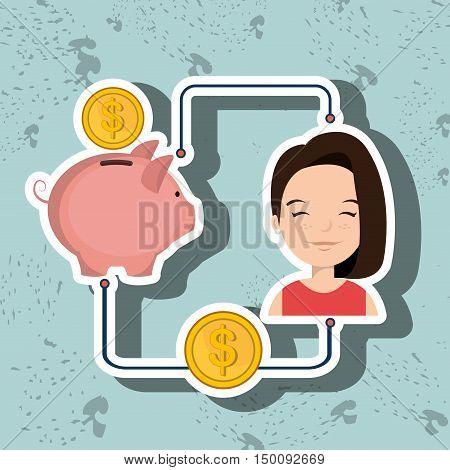 woman cartoon piggy currency money vector illustration eps 10