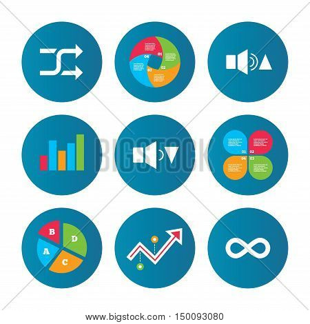Business pie chart. Growth curve. Presentation buttons. Player control icons. Sound louder and quieter signs. Dynamic symbol. Shuffle random and repeat loop. Data analysis. Vector