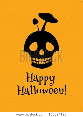 Vector bi-color illustration of a skull with toadstools growing on it. Black silhouette on an orange background, text